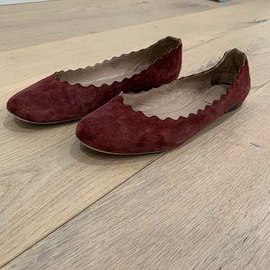 Chloé Lauren Burgundy Red Scallop Ballet Flat